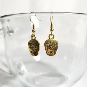 Day of the Dead Skull Earrings Gold Color